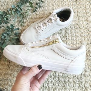 Vans White and Gold Leather Lace Up Sneaker
